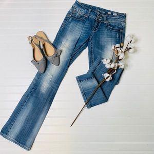 Miss Me Fallen Angel Rhinestone Boot Cut Jeans
